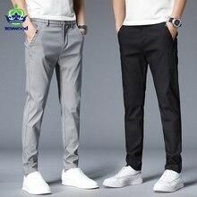 Pantalones informales de algodón para hombre, pantalón de estilo clásico a la moda, de marca, Color sólido, 38, Otoño, 2021