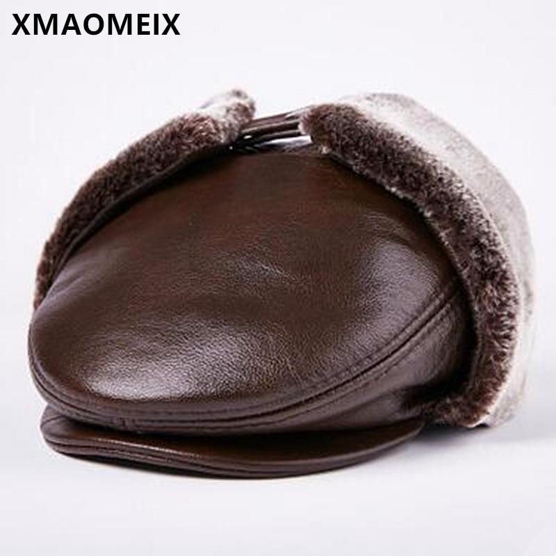 XMAOMEIX-قبعة شتوية من الجلد للرجال لكبار السن ، ودافئ وسميك ، وغطاء للأذنين من جلد البقر