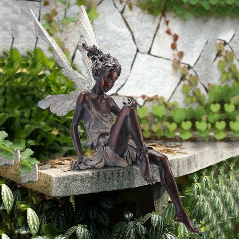 Статуя из смолы, сидящая фея, садовый орнамент, скульптура для крыльца, двор, ремесло, ландшафтный дизайн для дома, сада, декоративные аксесс...