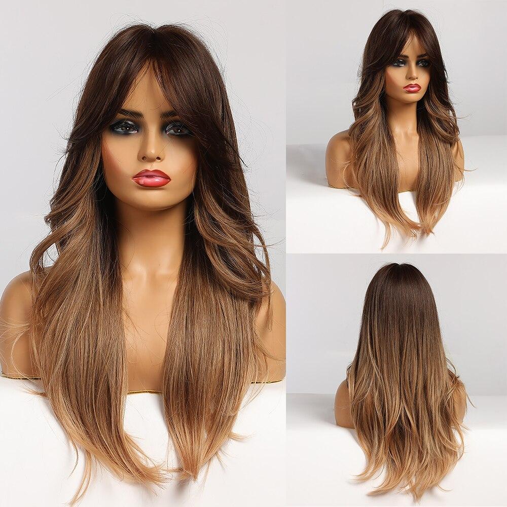 Perucas sintéticas longas onduladas ombre brown perucas naturais do cabelo da onda para as mulheres americanas africanas resistentes ao calor diariamente cosplay