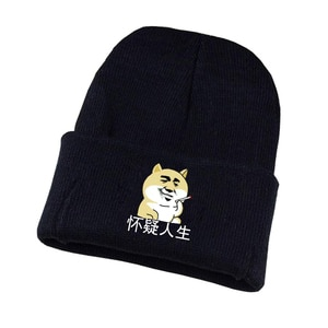 Anime doge Knitted hat Cosplay hat Unisex Print Adult Casual Cotton hat teenagers winter Knitted Cap