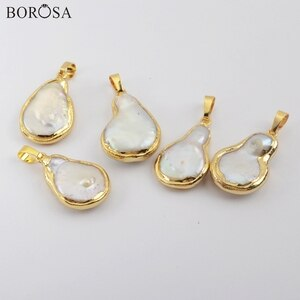 BOROSA 10Pcs Natural Freshwater Pearls Pendant Baroque Irregular Pearl Pendant Beads for Earrings Necklace Jewelry G1915