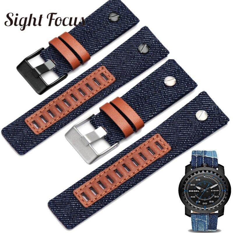 24mm Denim Canvas Blue Watchbands for Diesel Watch Strap Navy Blue Men Watch Band Straps Tang Buckle Belts Bracelets Clock Man