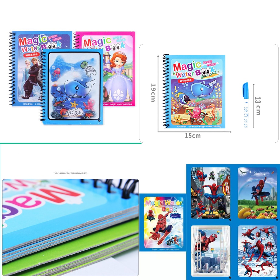 Книга-раскраска Монтессори каракули и волшебная ручка доска для рисования для детей игрушки волшебная водяная книга для рисования подарок ...