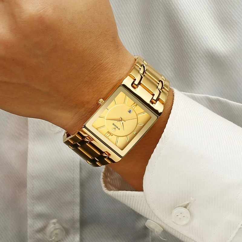 Relogio Masculino WWOOR Gold Watch Men Square Mens Watches Top Brand Luxury Golden Quartz Stainless Steel Waterproof Wrist Watch