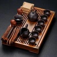 purple sand porcelain kung fu tea set set household tea cup simple office solid wood small tea tray drawer tea table set