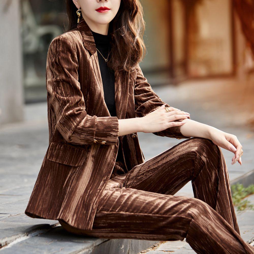 Korean autumn and winter velvet business wear women's jacket and pants wine red golden velvet suit women's suit two-piece pants
