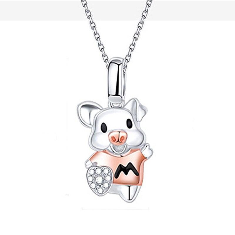 MOONROCY Rosa oro/plata Color lindo cerdo Chokers collar CZ corazón para mujeres niñas regalo Dropshipping joyería al por mayor