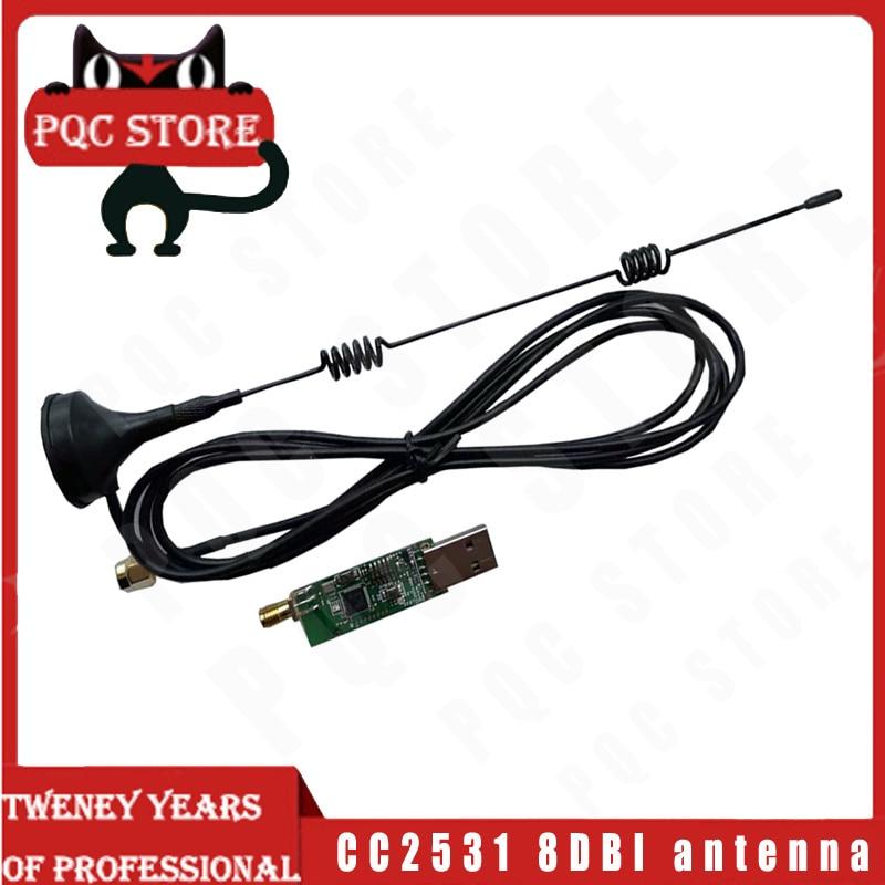 CC2531 CC2540 Analizador de protocolo de paquete de datos de tablero de Sniffer con adaptador de antena 8DBI módulo captura