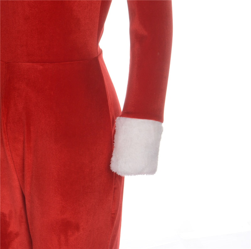 2020 New Women Sexy Off Shoulder Bodycon Stretchy Jumpsuit Lady Winter Warm Fleece Plush Red Rompers Festival Christmas Outfit