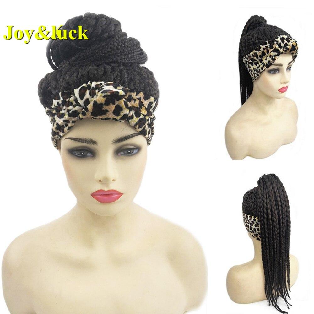 Joy & luck Box косички синтетические парики на голову парик Wrp тюрбан связанные головы обернуть парик для африканских женщин