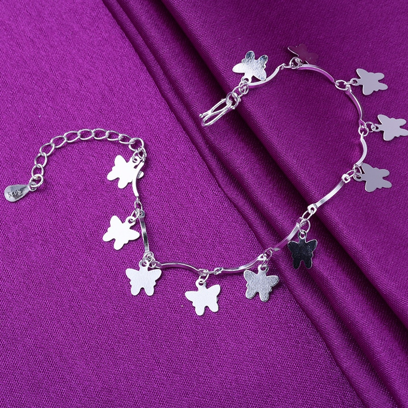 925 Sterling Silver Animals Butterfly Charm Bracelets Link Chain Bracelets &Bangle Anklet For Women Party Wedding Jewelry A209