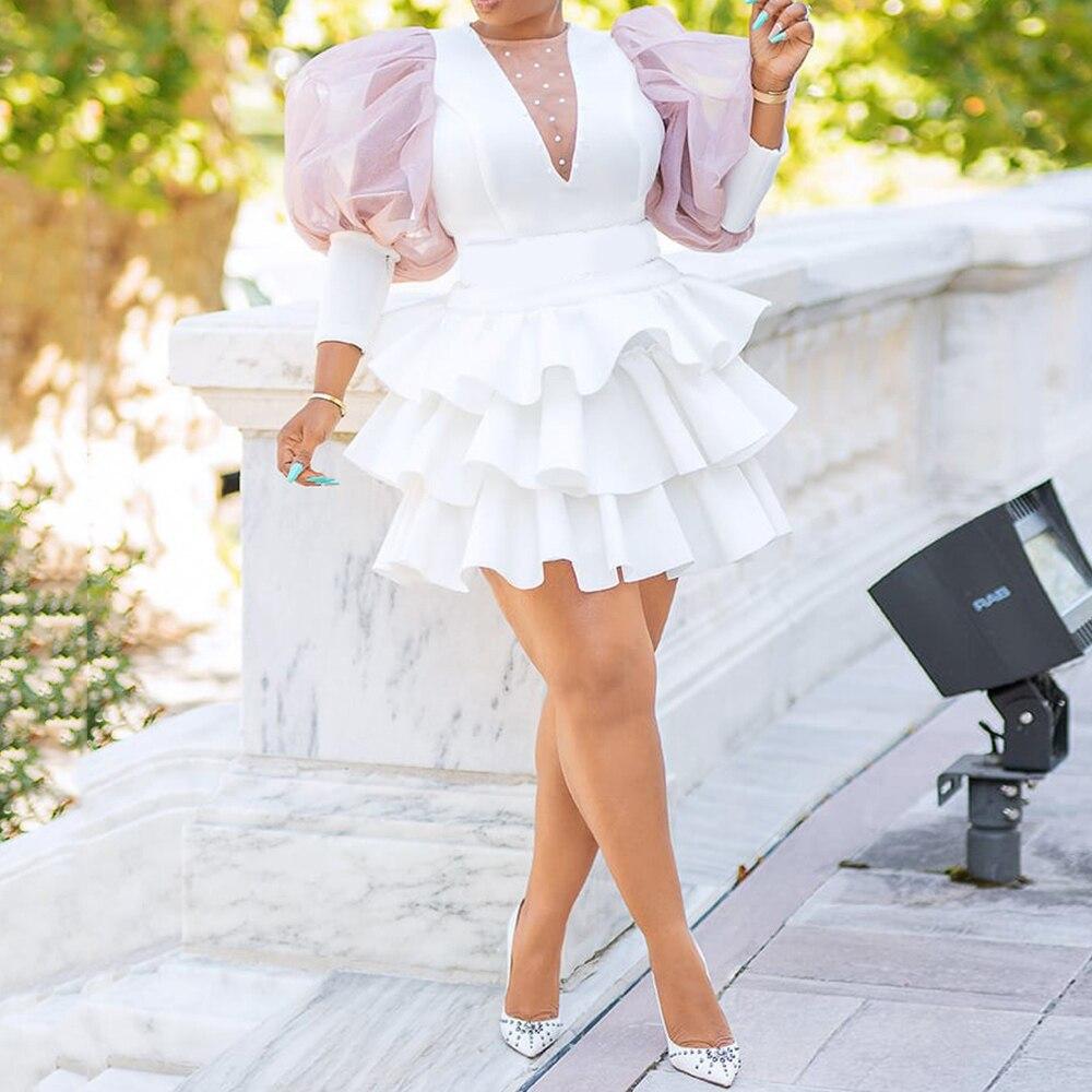 2021 فستان الحفلات النسائي الافريقي ذو طبقات مكشكشة فساتين مثيرة بيضاء انيقة النادي النسائي حجم اضافي فساتين شبكية أنيقة