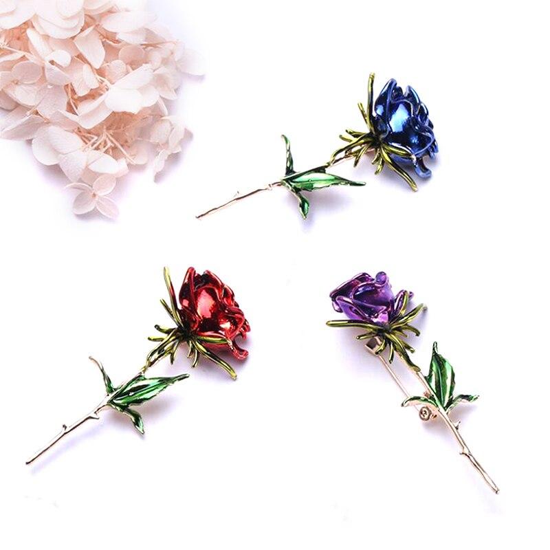 Broches de flor rosas rojas y rosas para mujer, broches de cobre,...