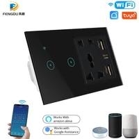 Smart Life     interrupteur WiFi tactile a distance avec prise electrique universelle  compatible avec lapplication Tuya EU US AU UK  Google Home