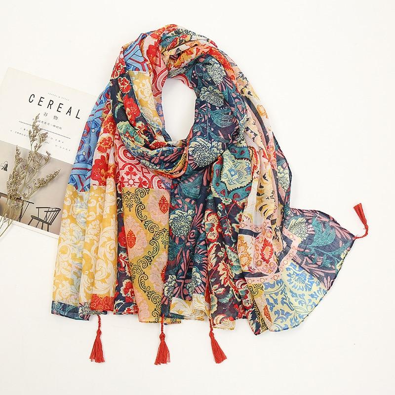 Fashion Luxury Brand Floral Tassel Viscose Shawl Scarf Lady High Quality Wrap Pashmina Stole Bufanda