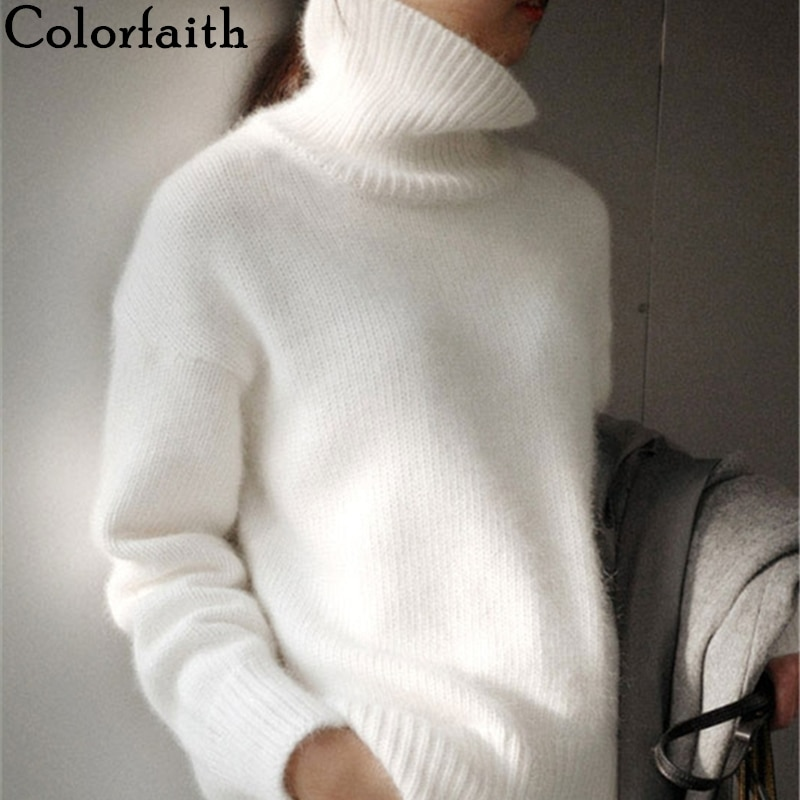 Colorfaith New 2021 Winter Spring Women Sweater Turtleneck Pullovers Bottoming Fake Mink Cashmere Oversize Beige Tops SW1157