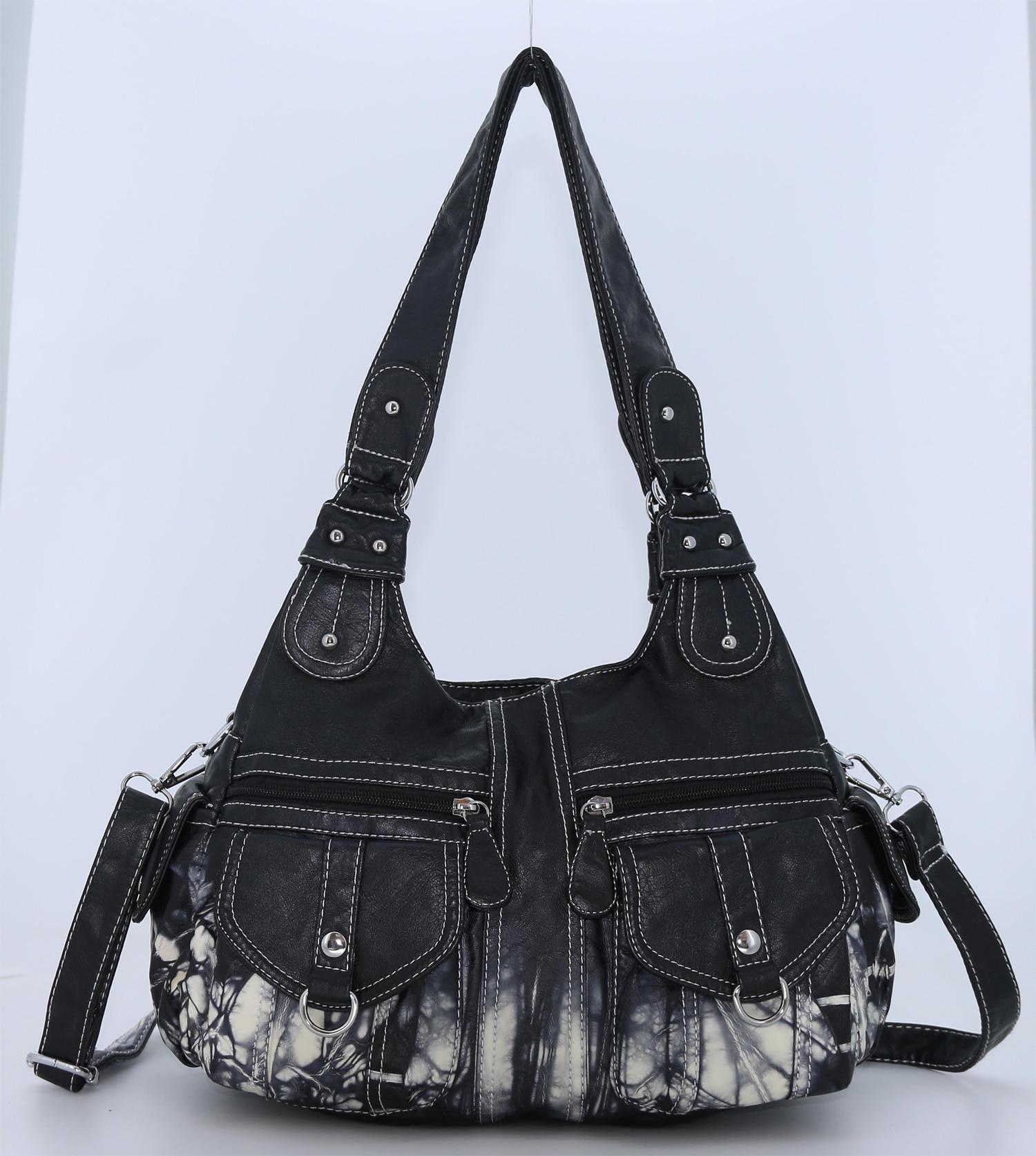Angel Kiss-حقيبة يد نسائية من جلد البولي يوريثان ، حقيبة كتف مصبوغة ، عتيقة