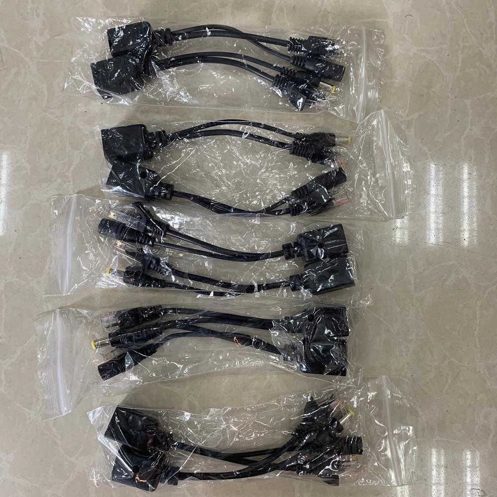 10pcs(5pair) POE Splitter POE Switch POE Cable adapter Tape Screened 5V 12V 24V 48V Power Supply Cable 5.5*2.1mm enlarge