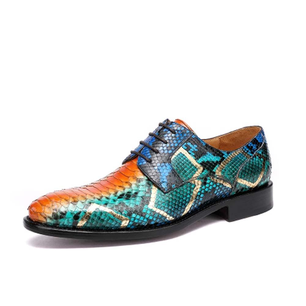 Hulangzhishi جديد جلد الثعبان جلد الثعبان الرجال فستان أحذية الأعمال الترفيه بيثون أحذية من الجلد الذكور حذاء كاجوال