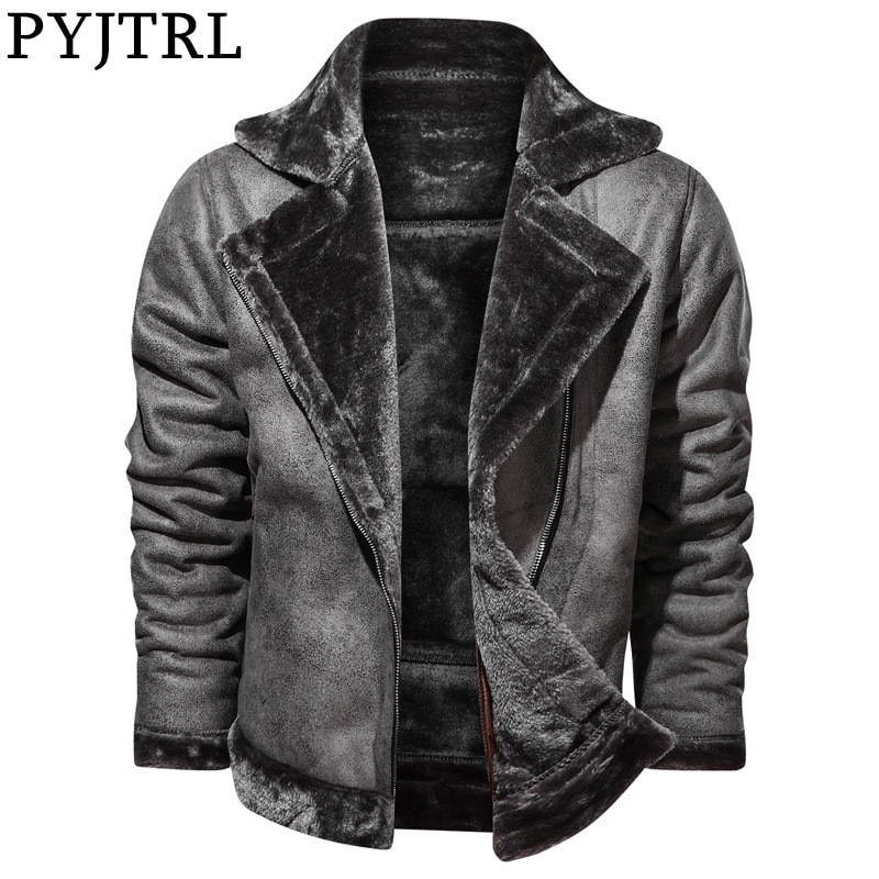 PYJTRL-جاكيت شتوي للرجال ، بطانة من الصوف السميك ، طية صدر السترة ، جلد PU