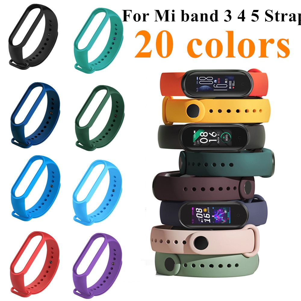 4 chigu double color accessories pulseira miband 2 strap replacement silicone wriststrap for m44258 181018 jia For mi band 3 4 5 Strap Accessories Pulseira Miband Replacement Silicone Wriststrap Smart Wrist Bracelet for Xiaomi Mi Band 5 4