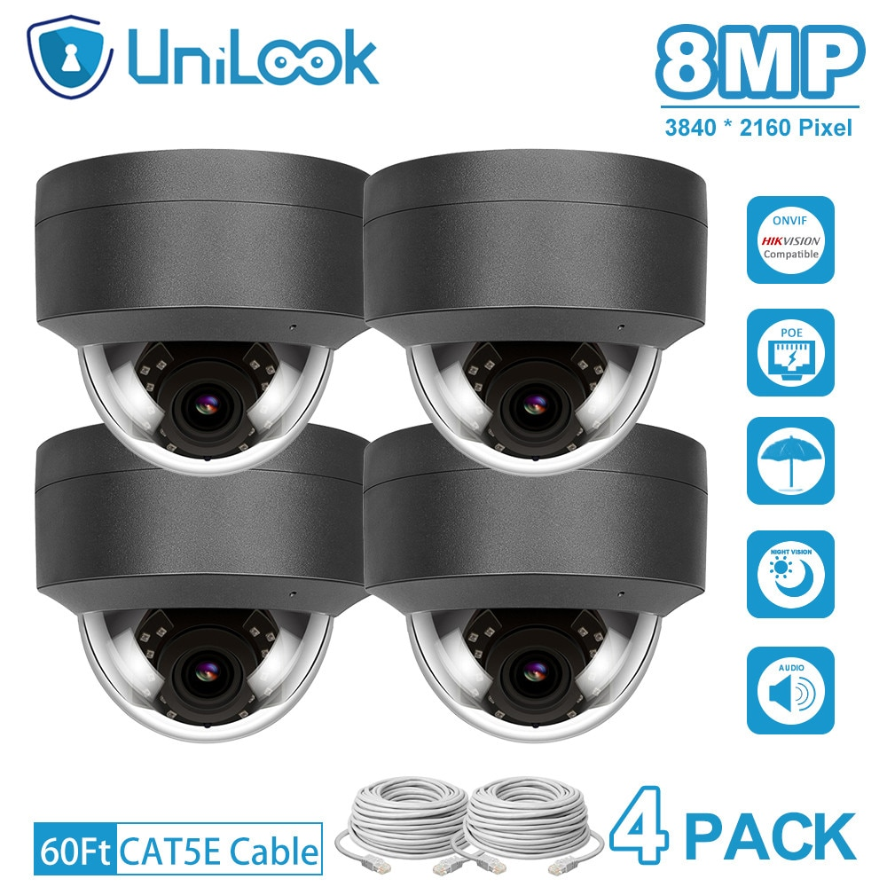UniLook 4K 8MP Dome POE IP Camera Built in Microphone Hikvision Compatible CCTV Security Camera Night vision IP66 ONVIF H.265 5mp bullet poe ip camera built in microphone sd card slot cctv security cctv camera ip66 night vision h 265 onvif p2p