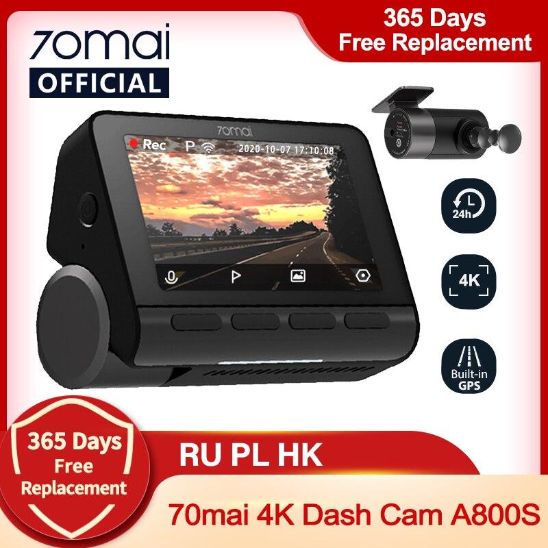70mai داش كام 4K A800S المدمج في نظام تحديد المواقع ADAS 70mai A800 كاميرا السيارة مزودة بجهاز تسجيل فيديو 24H وقوف السيارات Monitior كاميرا أمامية وخلفية 140FOV