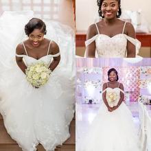 Robes de mariée Spaghetti sud-africain 2020 été dentelle Appliques perlées robes de mariée grande taille robes de mariée