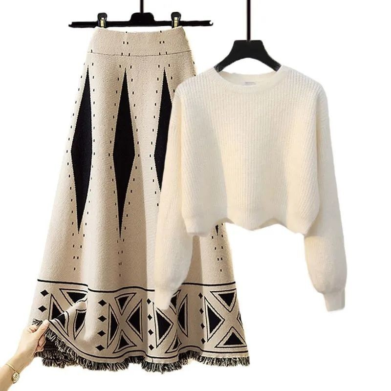 Plus Size Women Autumn Winter Warm Knitted Two Pieces Sets Korean Long Sleeve Pullover Sweater Top And High Waist Skirts Sets