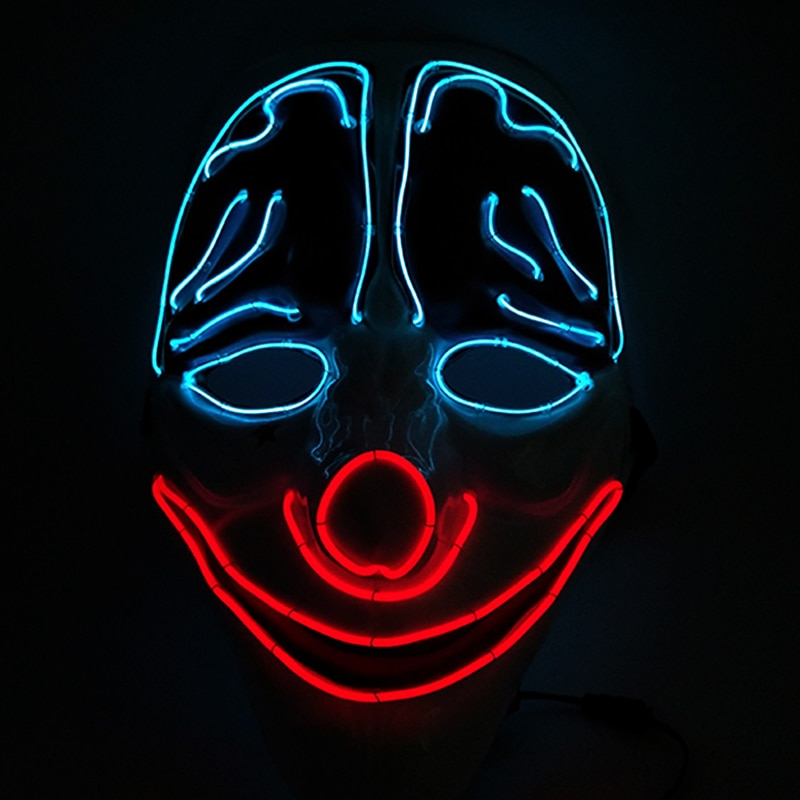 Horror Face Clown LED Mask Cosplay Robber Costume Glowing Party Supplies EL Wire Mask For Halloween Carnival