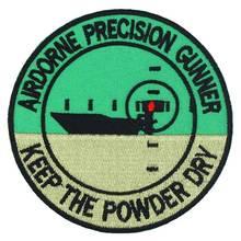 AIRDORNE PRECISON GUNNER 보트 수 놓은 펑크 바이커 패치 의류 스티커 의류 액세서리 배지