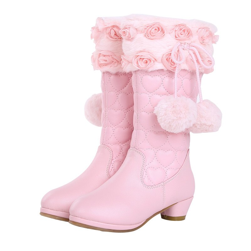 4-12 years children's shoes winter boots pink shoes fashionable girls' boots Christmas gifts warm cotton boots snow boots