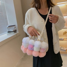 Faux Fur Crossbody Bags for Women 2021 Winter Totes Plush Purses and Handbags Hairball Female Should