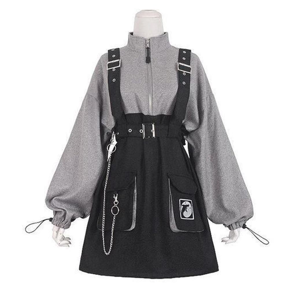 2021 ريترو خمر النساء الفتيات القوطية الشرير فستان قصير عالية الخصر طويلة الأكمام قبعة طوق مثير جري الأسود لوليتا حجم كبير Jurken