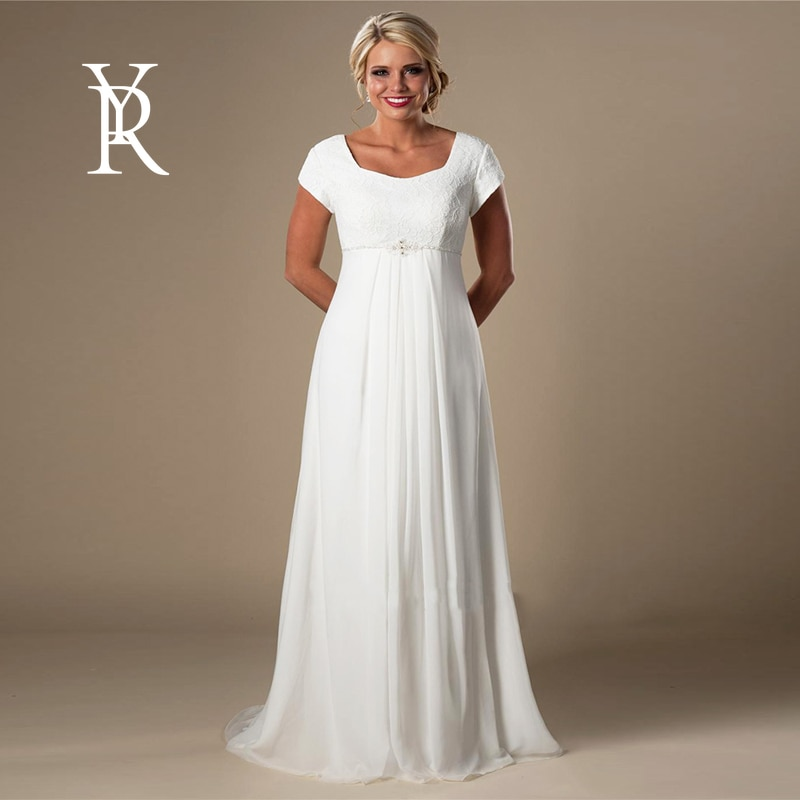 YILIBER Chiffon wedding dress square collar short sleev simple atmosphere wedding gown buttons folds tailing  - buy with discount