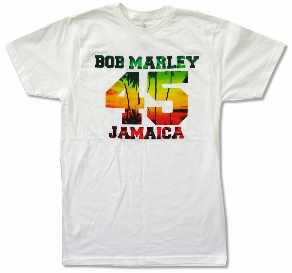 Bob Marley 45 Jamaica camiseta blanca nuevo adulto Reggae Rasta Harajuku Tops moda clásica camiseta