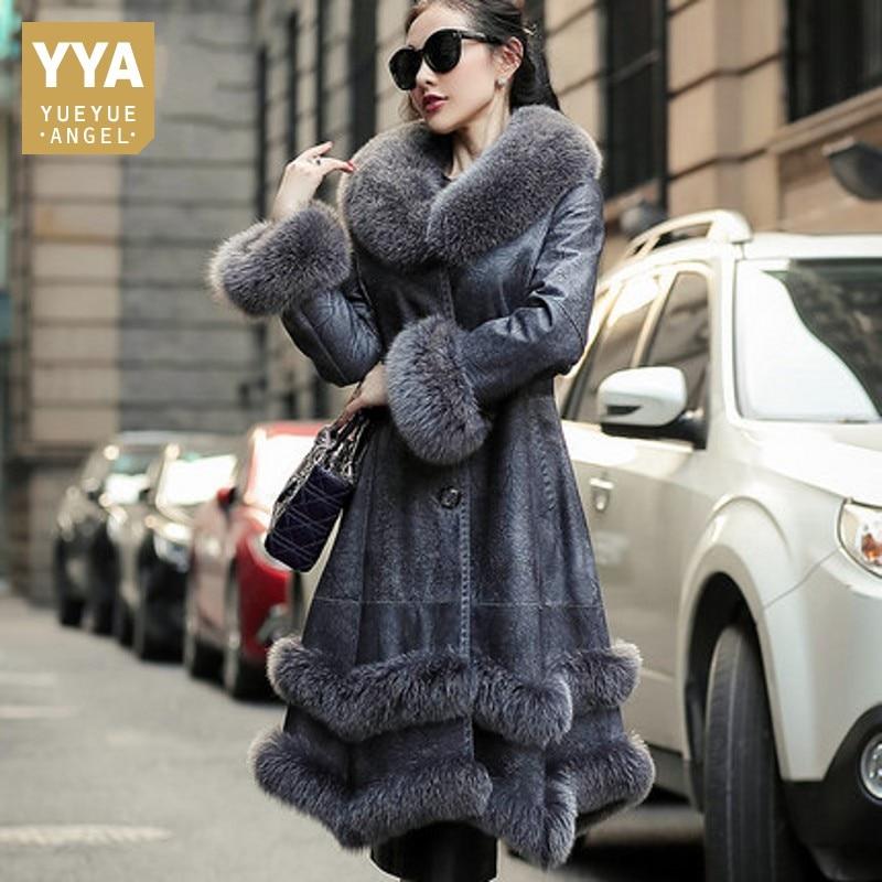 الثعلب الفراء طوق إمرأة طويل التنورة ريال الفراء الأزياء ضئيلة الفراء الطبيعي اللون جيوب الشتاء سميكة الدافئة أرنب الجلد الشارع الشهير معطف