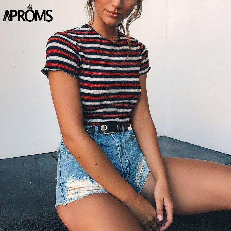 Aproms multi stripe bloqueado estiramento camiseta feminina verão colheita superior 90s básico tshirt casual manga curta com nervuras t camisa feminina topo