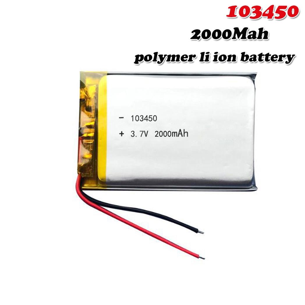 2000mAh 3,7 V 103450 Lipo Lithium-Polymer-Akku Für GPS navigator MP5 GPS Bluetooth Lautsprecher headset e-book kamera