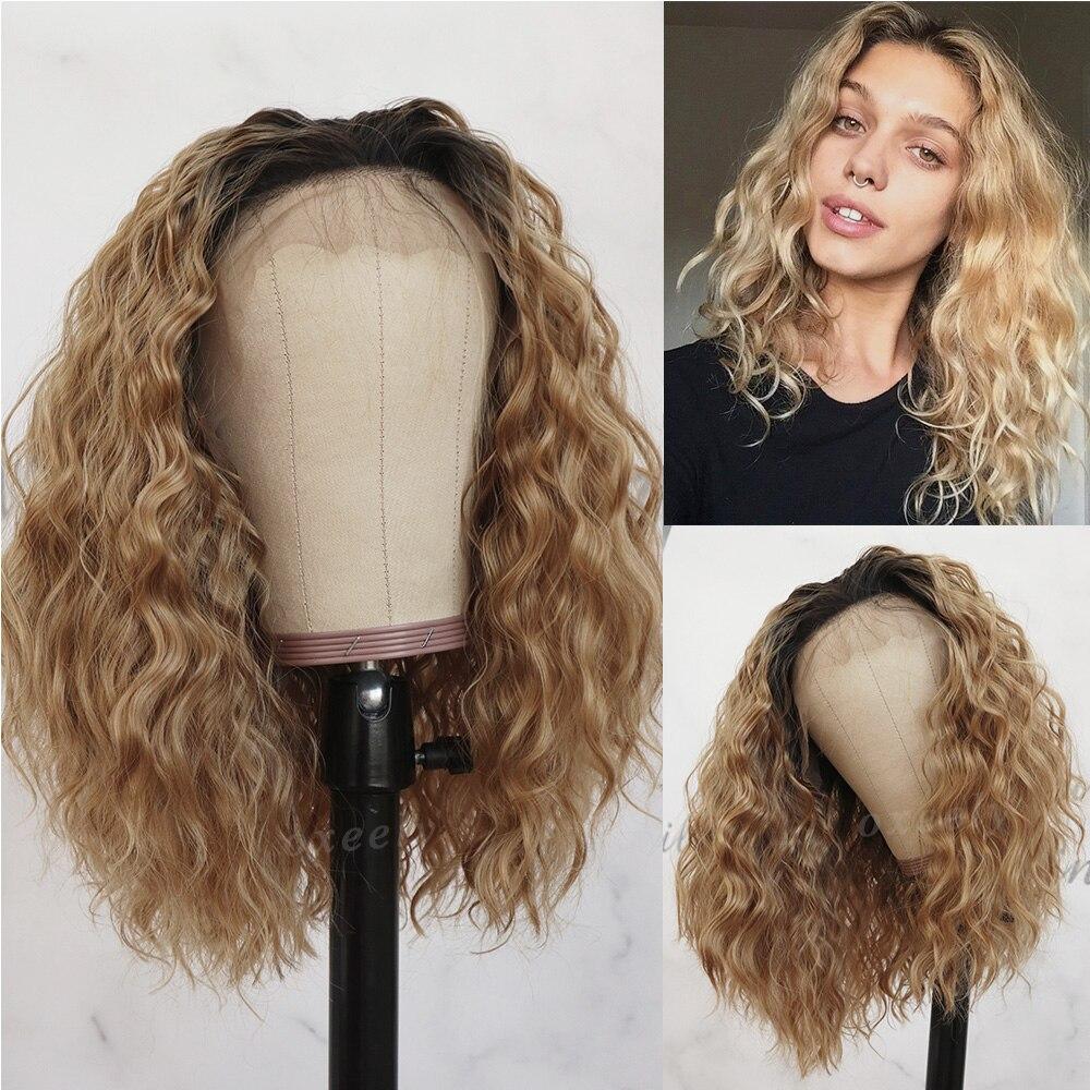 Oxeely-شعر مستعار صناعي مجعد ، شعر قصير ، أشقر فاتح ، 13x4 ، بدون غراء ، مقاوم للحرارة ، 16 بوصة