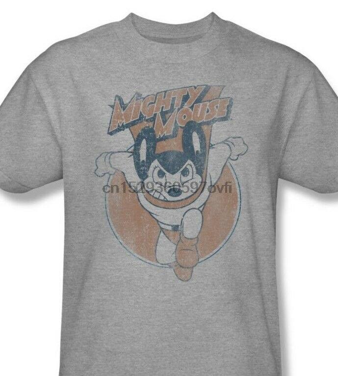 Mighty Mouse T-shirt retro superhero vintage cartoon heather grey tee CBS935