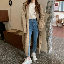 Mid-length Sweater Women Loose Outer Wear Autumn 2021 New Korean Style Lazy Style Jacket Knitted Car