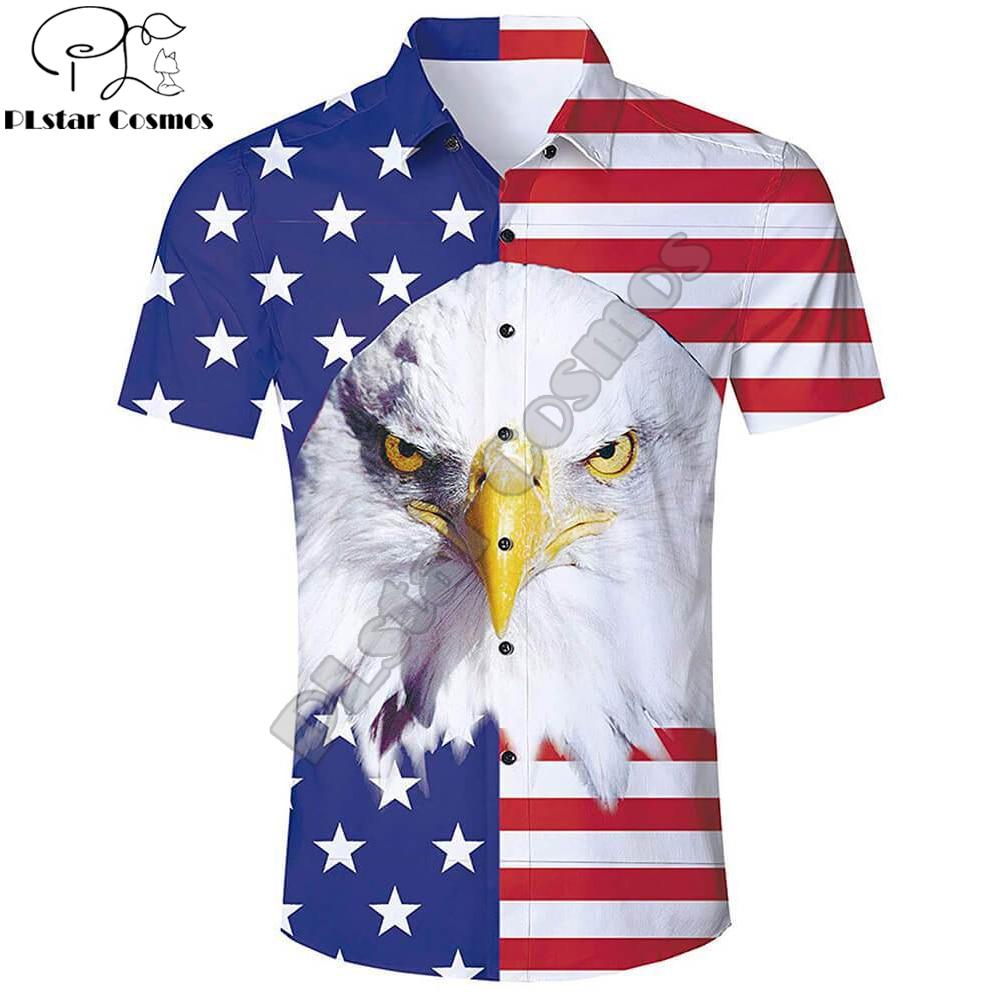Summer Harajuku Short sleeve Shirts Funny American Flag Eagle 3D Printed Hawaiian Shirt Mens Harajuku Casual Shirt Drop Shipping short sleeve cartoon eagle and american flag print t shirt