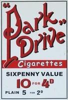 park drive cigarettes vintage advertising enamel metal 20x30 tin sign wall plaque
