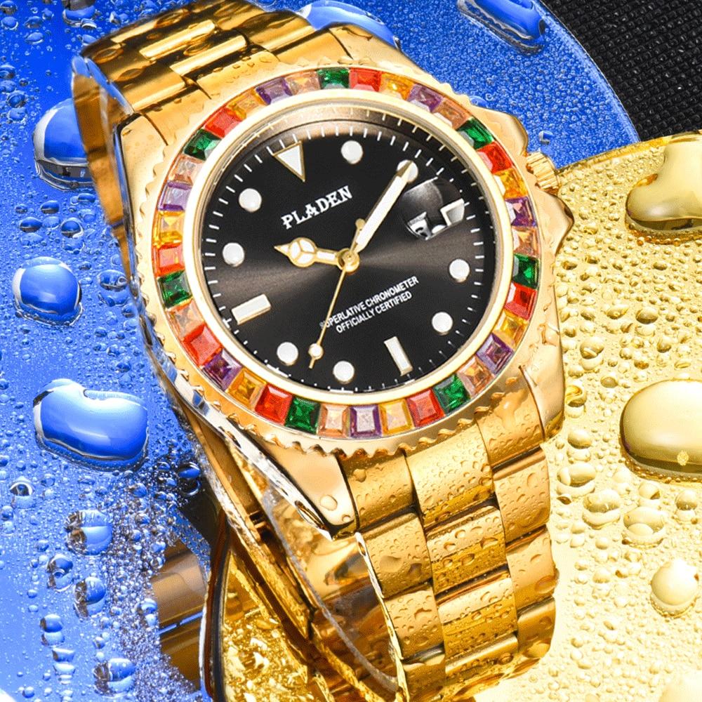 PLADEN Gold Waterproof Men's Quartz Watch Luxury Luminous Watch For Men Young Style Trend Men's Wris