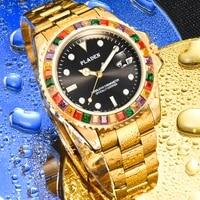 pladen gold waterproof mens quartz watch luxury luminous watch for men young style trend mens wrist watch relojes para hombre