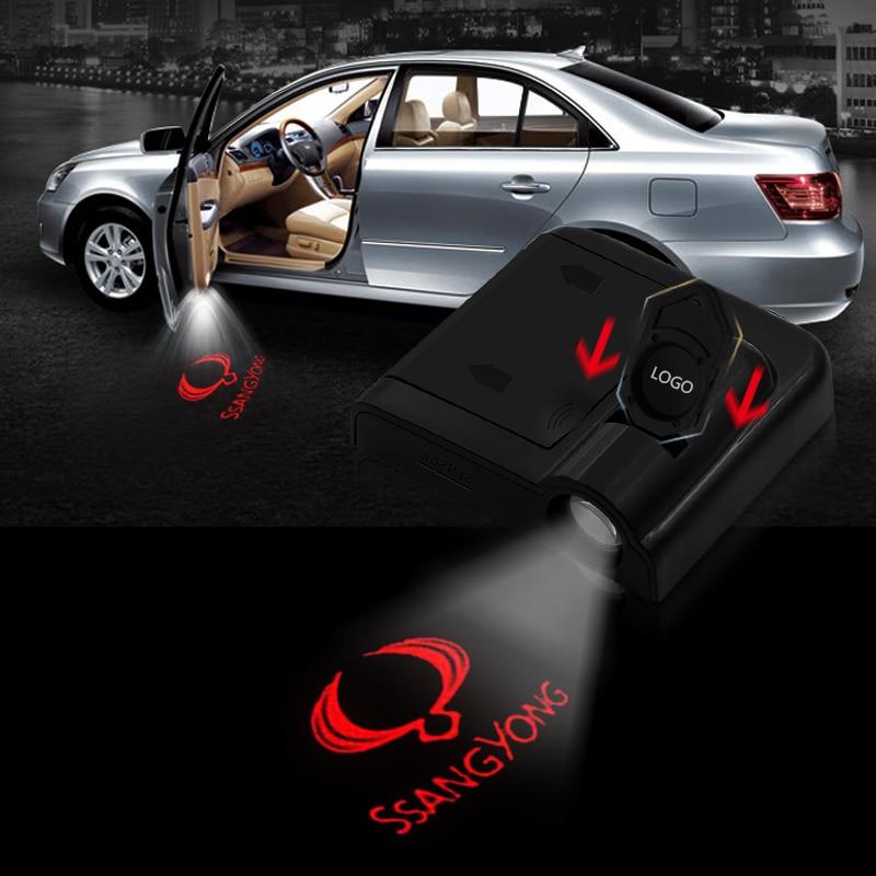 1 Uds. Proyector láser de cortesía inalámbrico Led para puerta de coche con Logo de luces sombras fantasmales para Ssangyong Rexton Kyron Korando accesorios de coche