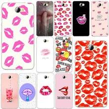 Red Pink Lip Print Soft Phone Cases TPU Silicon for Huawei P8 P9 P10 P20 Lite Mate 10 Pro Y5 Y6 Y3 II Y7 Honor 6X 9 Lite Bags