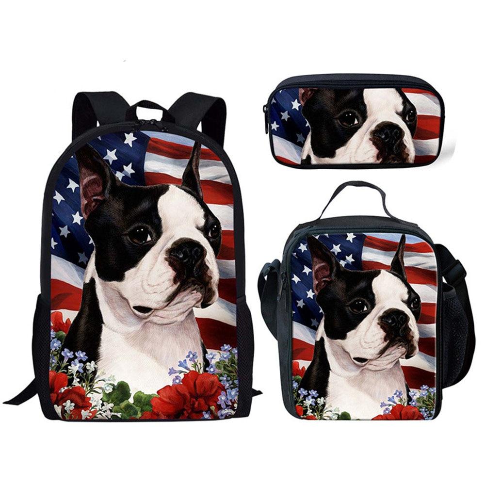 Фото - 3D French Bulldog Printing School Bag Student School Backpack for Kids 3Pcs Pets Pattern Primary School Bags Satchel 2020 french bulldog